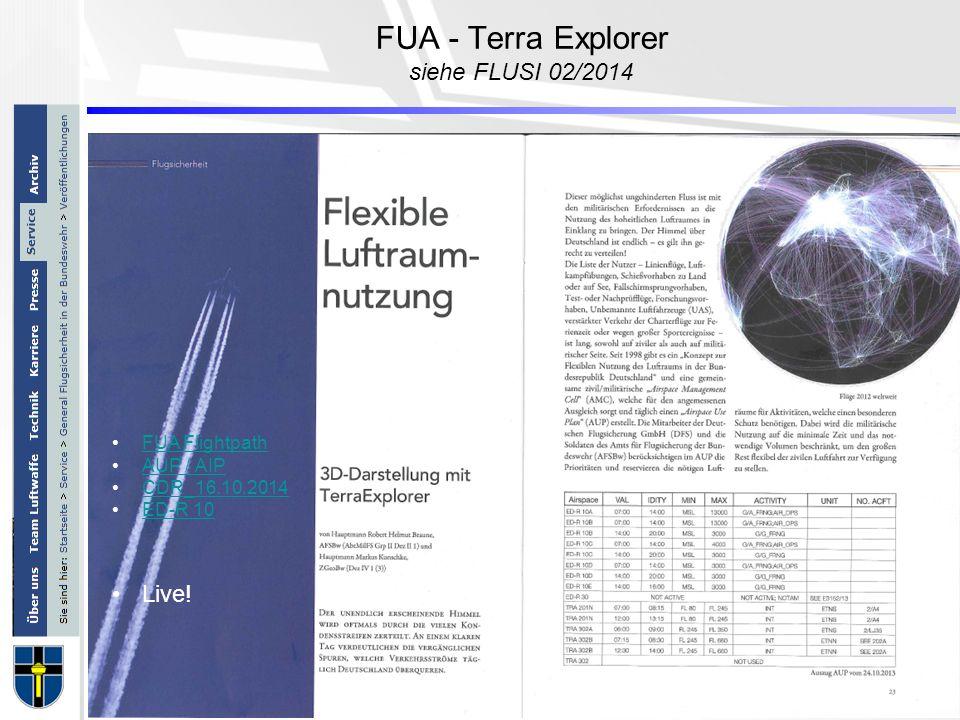 FUA - Terra Explorer siehe FLUSI 02/2014 FUA Flightpath AUP / AIP CDR_16.10.2014 ED-R 10 Live!