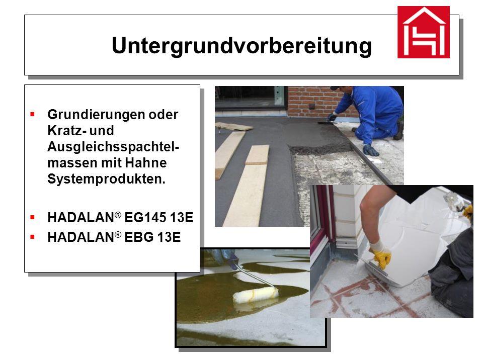 Untergrundvorbereitung  Grundierungen oder Kratz- und Ausgleichsspachtel- massen mit Hahne Systemprodukten.