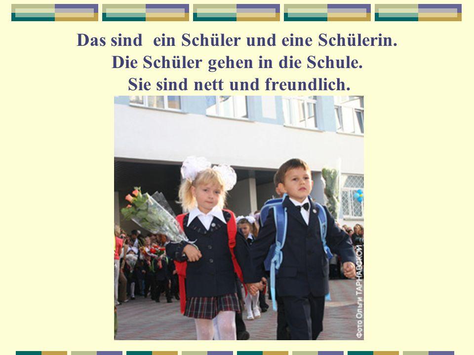 Das sind ein Schüler und eine Schülerin. Die Schüler gehen in die Schule. Sie sind nett und freundlich.