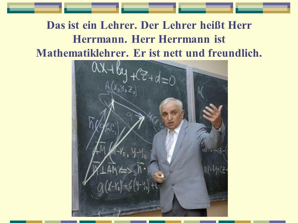 Das ist ein Lehrer. Der Lehrer heißt Herr Herrmann. Herr Herrmann ist Mathematiklehrer. Er ist nett und freundlich.
