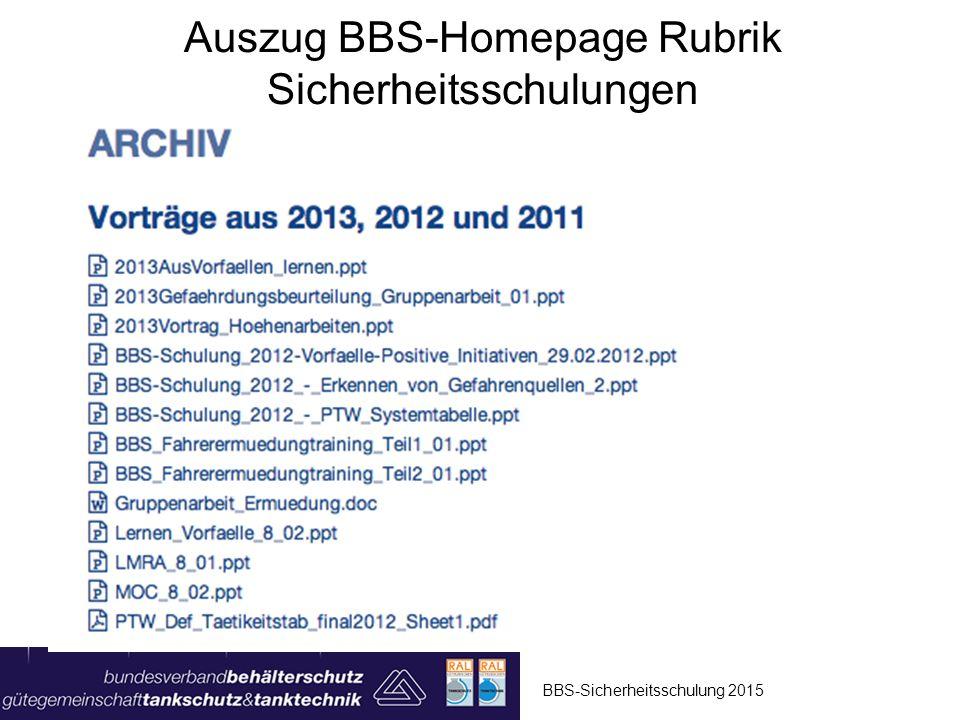 Auszug BBS-Homepage Rubrik Sicherheitsschulungen BBS-Sicherheitsschulung 2015