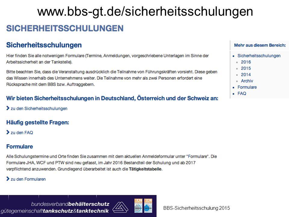 www.bbs-gt.de/sicherheitsschulungen BBS-Sicherheitsschulung 2015