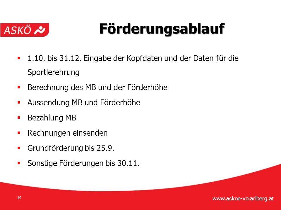 www.askoe-vorarlberg.at 10 Förderungsablauf  1.10.