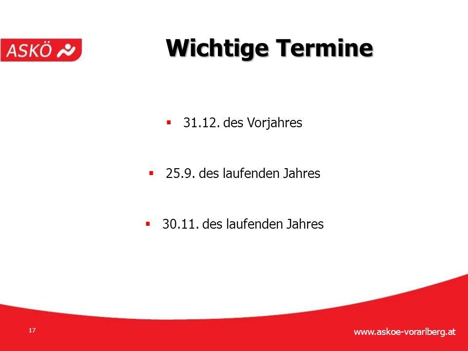 www.askoe-vorarlberg.at 17  31.12. des Vorjahres  25.9.