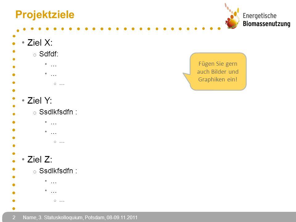 Projektziele Ziel X: o Sdfdf: … o … Ziel Y: o Ssdlkfsdfn : … o … Ziel Z: o Ssdlkfsdfn : … o … 2 Name, 3.