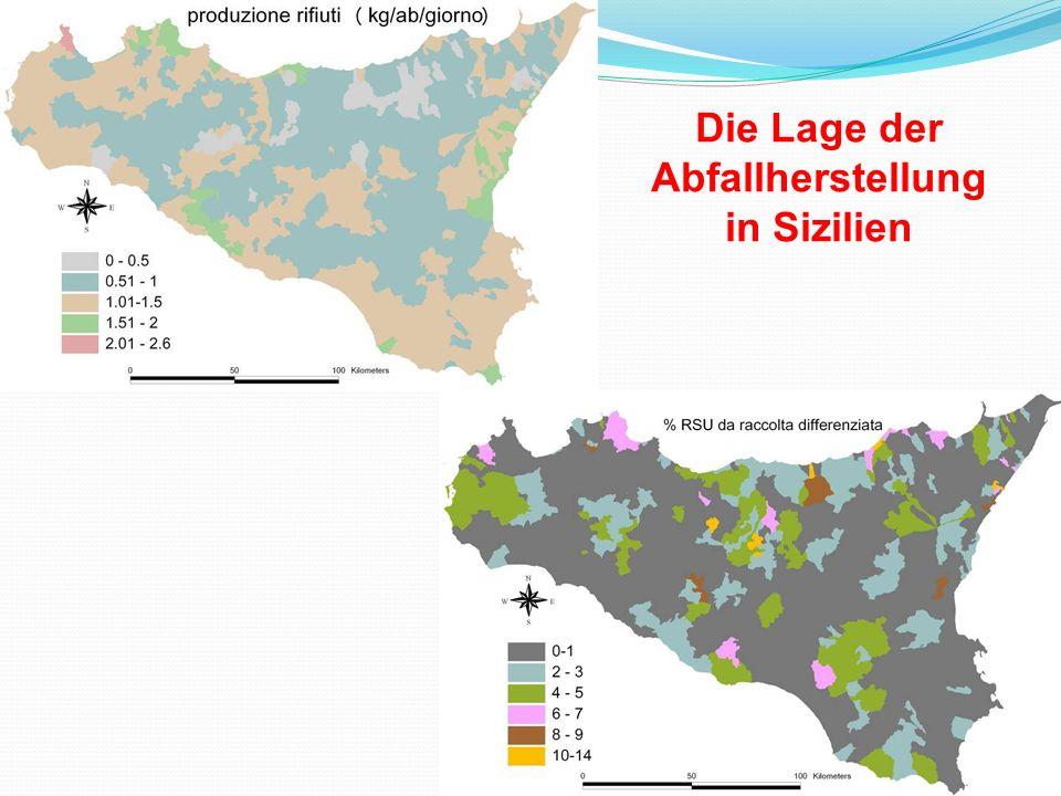 Die Lage der Abfallherstellung in Sizilien