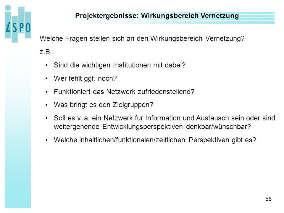 58 Projektergebnisse: Wirkungsbereich Vernetzung Welche Fragen stellen sich an den Wirkungsbereich Vernetzung.