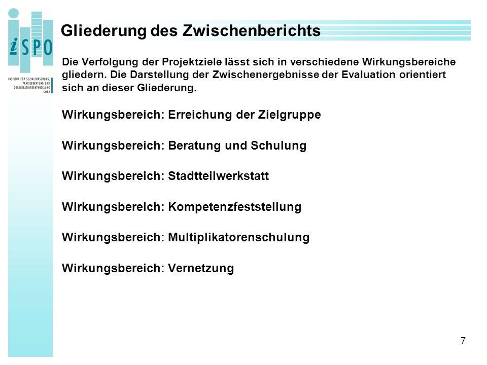 7 Gliederung des Zwischenberichts Die Verfolgung der Projektziele lässt sich in verschiedene Wirkungsbereiche gliedern.