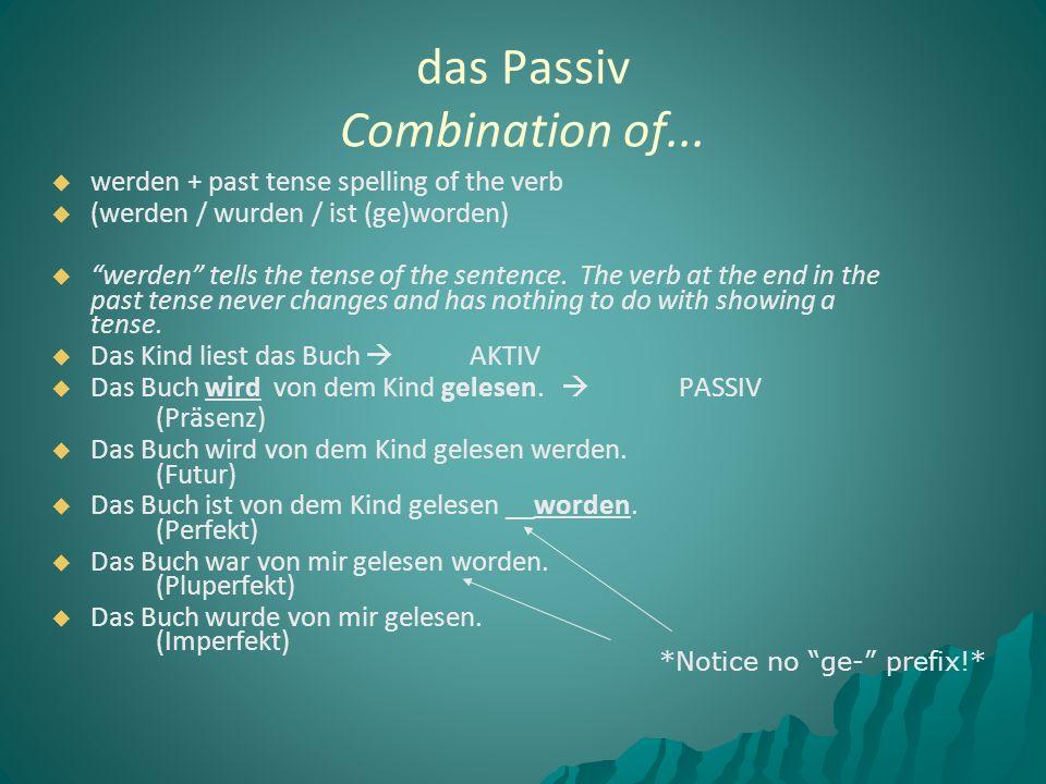 """  werden + past tense spelling of the verb   (werden / wurden / ist (ge)worden)   """"werden"""" tells the tense of the sentence. The verb at the end"""