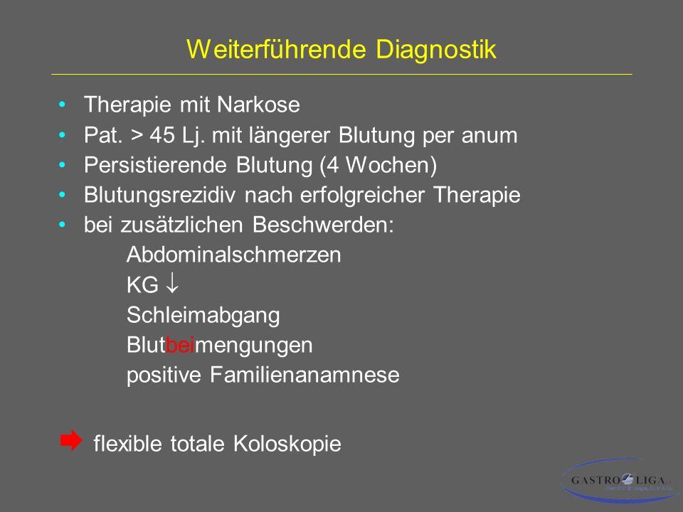 Weiterführende Diagnostik Therapie mit Narkose Pat.