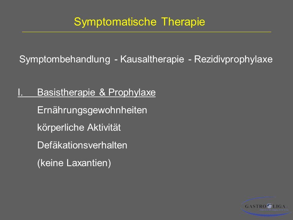 Symptomatische Therapie I.Basistherapie & Prophylaxe Ernährungsgewohnheiten körperliche Aktivität Defäkationsverhalten (keine Laxantien) Symptombehandlung - Kausaltherapie - Rezidivprophylaxe