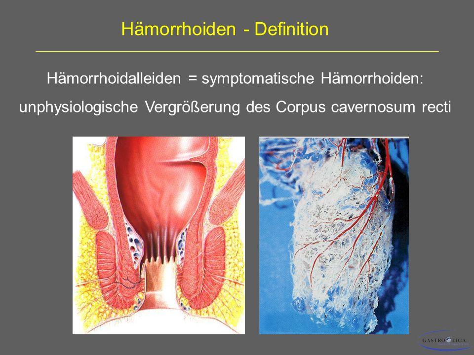 Hämorrhoiden - Definition Hämorrhoidalleiden = symptomatische Hämorrhoiden: unphysiologische Vergrößerung des Corpus cavernosum recti