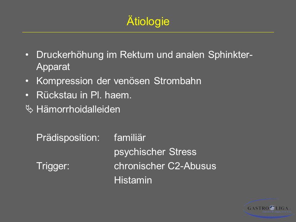 Ätiologie Druckerhöhung im Rektum und analen Sphinkter- Apparat Kompression der venösen Strombahn Rückstau in Pl.