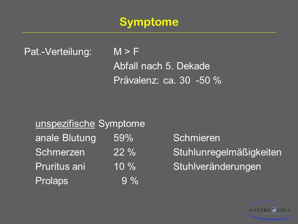 Symptome Pat.-Verteilung:M > F Abfall nach 5.Dekade Prävalenz: ca.