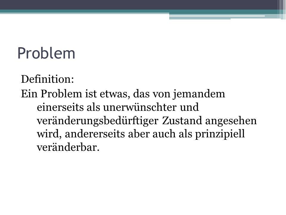 Entstehung eines Problems 1.Problementdeckung/-erfindung 2.Entstehung eines problemdeterminierten Kommunikationssystems 3.Problemerklärung 4.Problemstabilisierendes Handeln