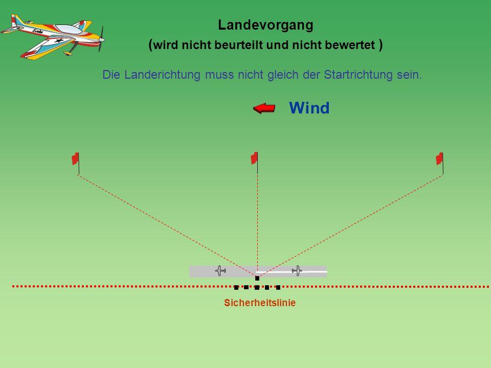 120 0 Landevorgang ( wird nicht beurteilt und nicht bewertet ) Sicherheitslinie Wind Die Landerichtung muss nicht gleich der Startrichtung sein.