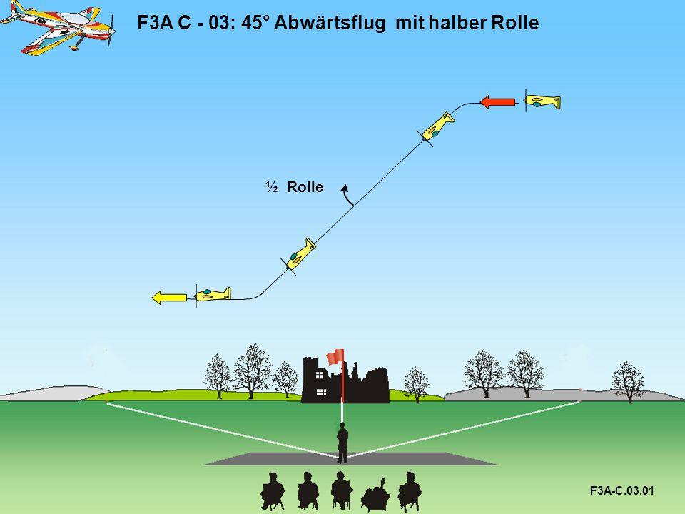 F3A C - 03: 45° Abwärtsflug mit halber Rolle F3A-C.03.02 45° ½ Rolle Alle Radien sind gleich.