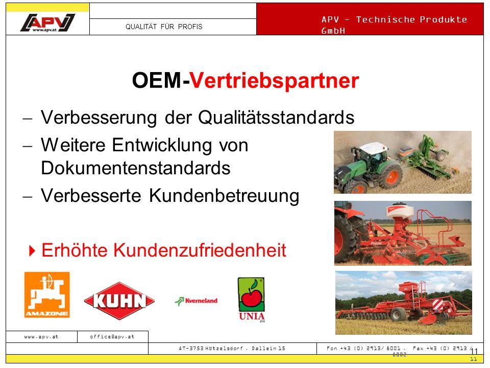 QUALITÄT FÜR PROFIS APV - Technische Produkte GmbH 11 www.apv.atoffice@apv.at AT-3753 Hötzelsdorf.