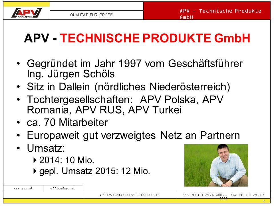 QUALITÄT FÜR PROFIS APV - Technische Produkte GmbH 2 www.apv.atoffice@apv.at AT-3753 Hötzelsdorf.