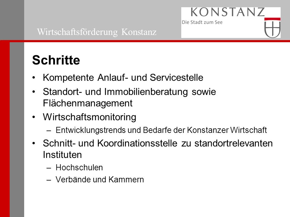 Wirtschaftsförderung Konstanz Schritte Kompetente Anlauf- und Servicestelle Standort- und Immobilienberatung sowie Flächenmanagement Wirtschaftsmonitoring –Entwicklungstrends und Bedarfe der Konstanzer Wirtschaft Schnitt- und Koordinationsstelle zu standortrelevanten Instituten –Hochschulen –Verbände und Kammern