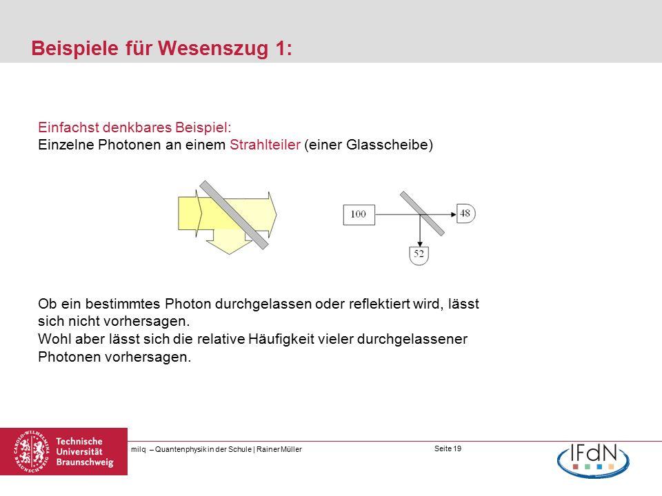 Seite 19 Beispiele für Wesenszug 1: milq – Quantenphysik in der Schule | Rainer Müller Einfachst denkbares Beispiel: Einzelne Photonen an einem Strahlteiler (einer Glasscheibe) Ob ein bestimmtes Photon durchgelassen oder reflektiert wird, lässt sich nicht vorhersagen.