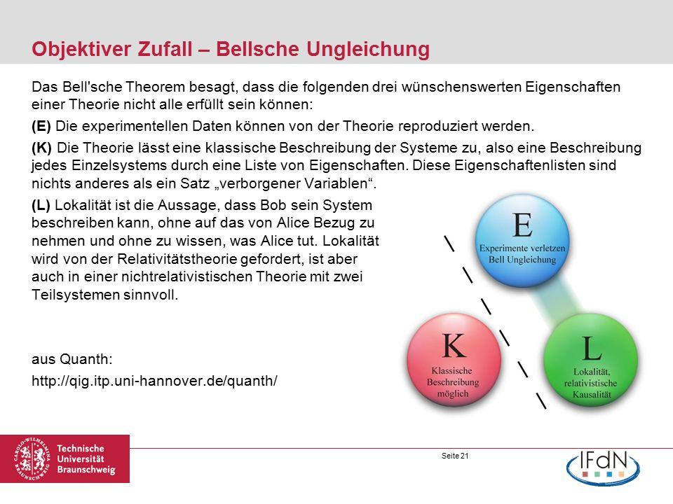 Seite 21 Objektiver Zufall – Bellsche Ungleichung Das Bell sche Theorem besagt, dass die folgenden drei wünschenswerten Eigenschaften einer Theorie nicht alle erfüllt sein können: (E) Die experimentellen Daten können von der Theorie reproduziert werden.