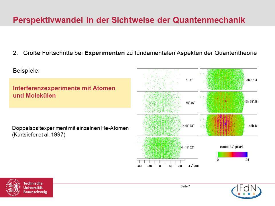 Seite 8 Perspektivwandel in der Sichtweise der Quantenmechanik 2.Große Fortschritte bei Experimenten zu fundamentalen Aspekten der Quantentheorie Beispiele: Interferenzexperimente mit Atomen und Molekülen (Hornberger et al., Rev.