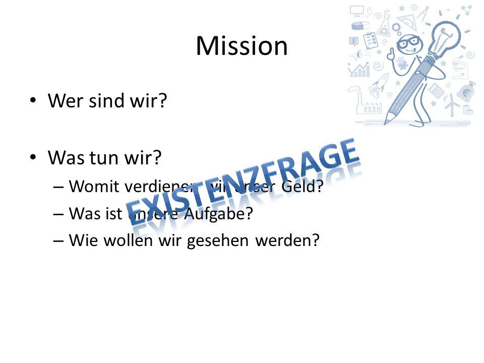 Mission Wer sind wir. Was tun wir. – Womit verdienen wir unser Geld.