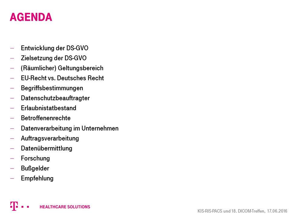 Agenda  Entwicklung der DS-GVO  Zielsetzung der DS-GVO  (Räumlicher) Geltungsbereich  EU-Recht vs.