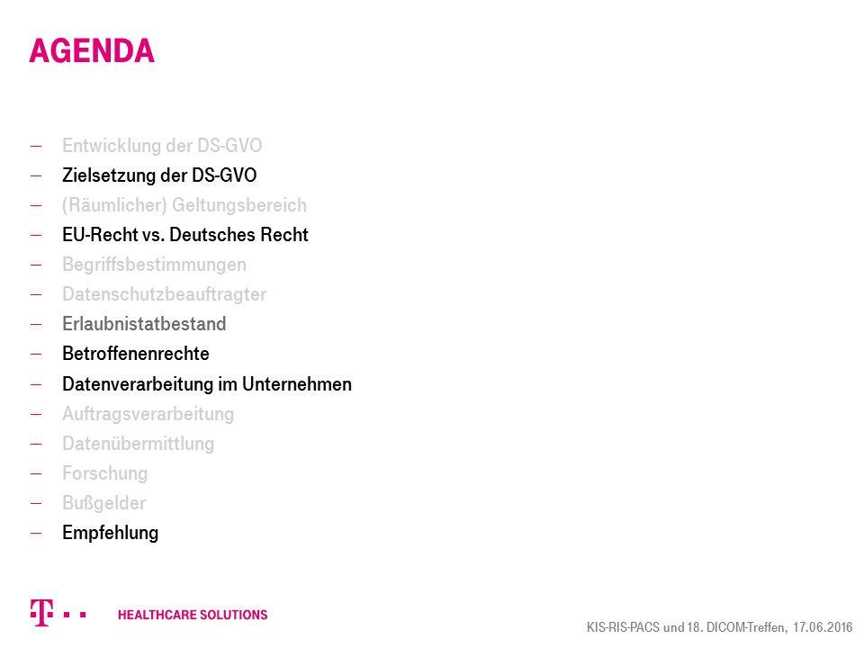 Agenda  Entwicklung der DS-GVO  Zielsetzung der DS-GVO  (Räumlicher) Geltungsbereich  EU-Recht vs. Deutsches Recht  Begriffsbestimmungen  Datens