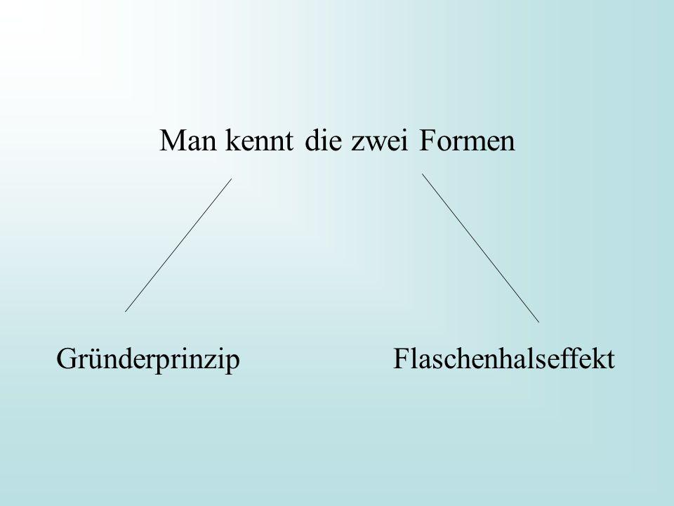 Man kennt die zwei Formen Gründerprinzip Flaschenhalseffekt