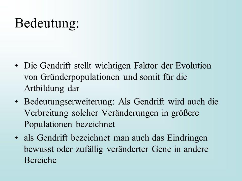 Bedeutung: Die Gendrift stellt wichtigen Faktor der Evolution von Gründerpopulationen und somit für die Artbildung dar Bedeutungserweiterung: Als Gend