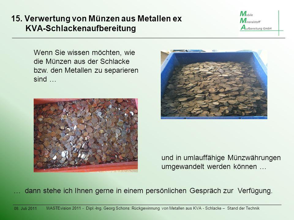 15. Verwertung von Münzen aus Metallen ex KVA-Schlackenaufbereitung 08.
