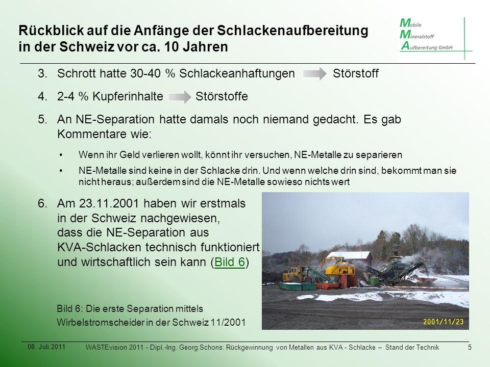 Rückblick auf die Anfänge der Schlackenaufbereitung in der Schweiz vor ca.