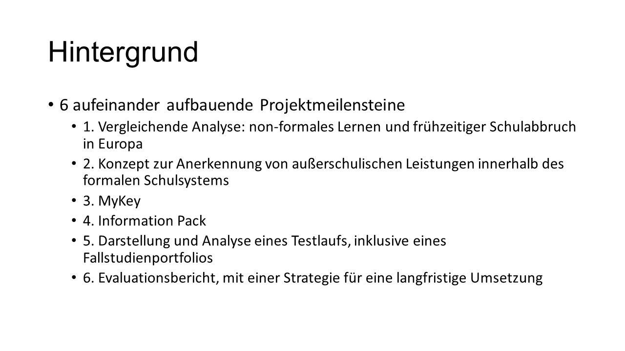 Hintergrund 6 aufeinander aufbauende Projektmeilensteine 1. Vergleichende Analyse: non-formales Lernen und frühzeitiger Schulabbruch in Europa 2. Konz
