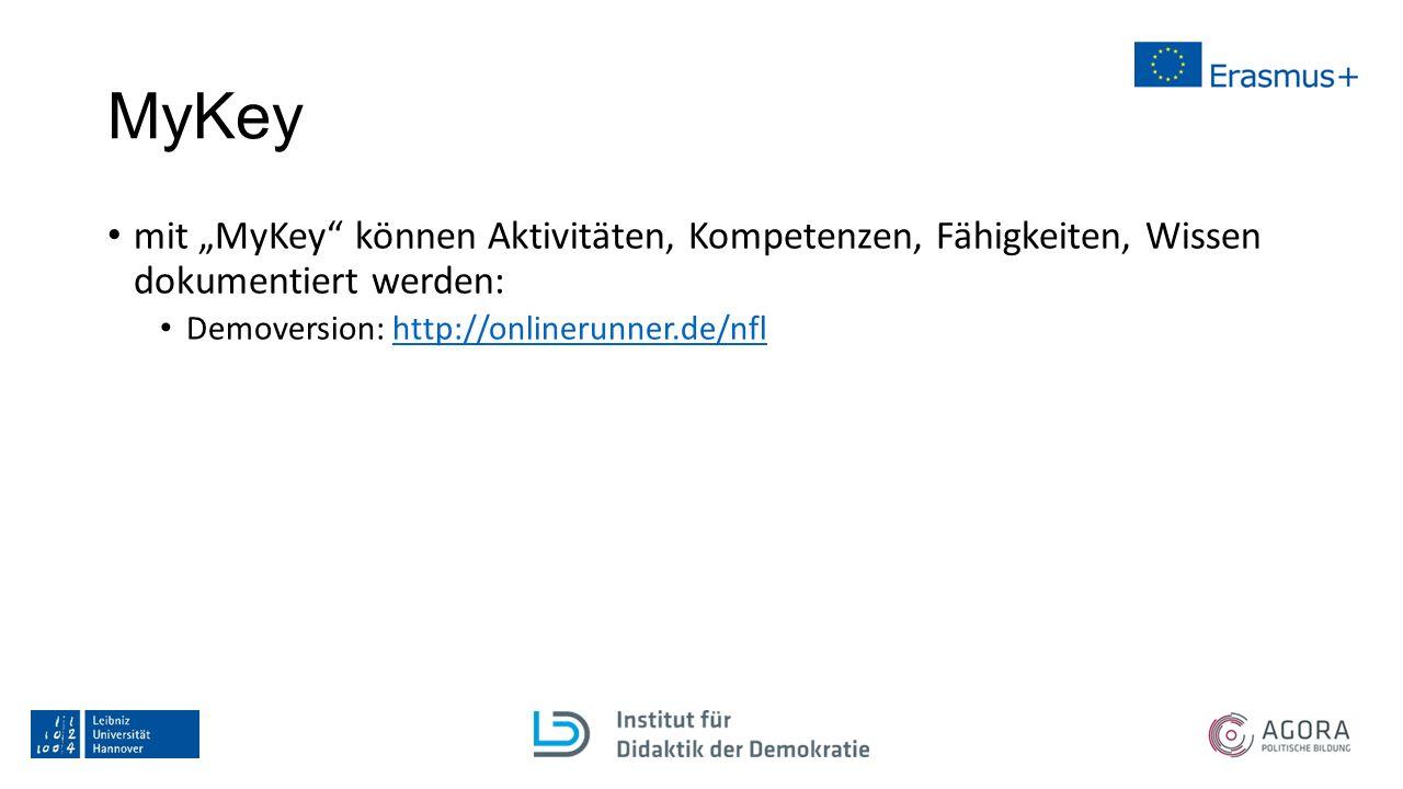 """MyKey mit """"MyKey"""" können Aktivitäten, Kompetenzen, Fähigkeiten, Wissen dokumentiert werden: Demoversion: http://onlinerunner.de/nflhttp://onlinerunner"""