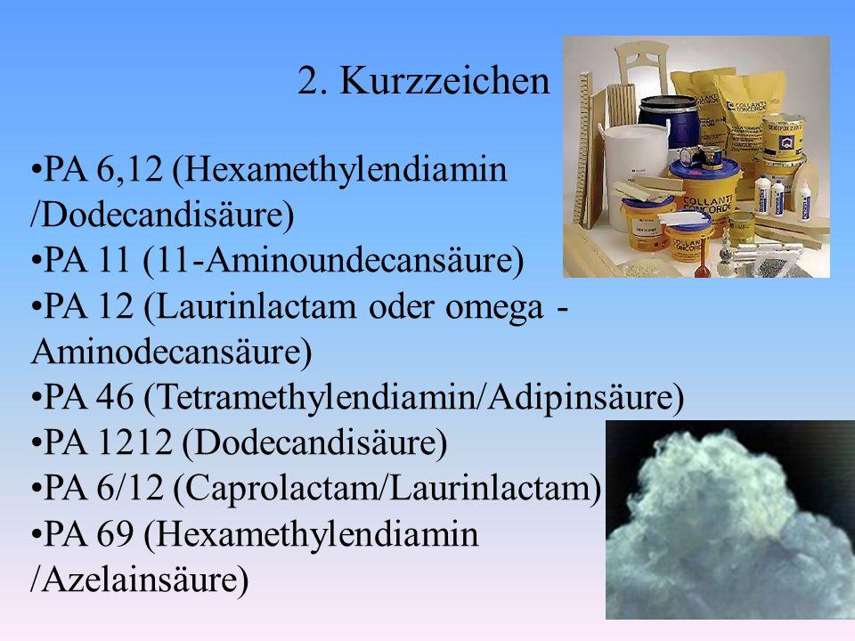 2. Kurzzeichen PA 6,12 (Hexamethylendiamin /Dodecandisäure) PA 11 (11-Aminoundecansäure) PA 12 (Laurinlactam oder omega - Aminodecansäure) PA 46 (Tetr