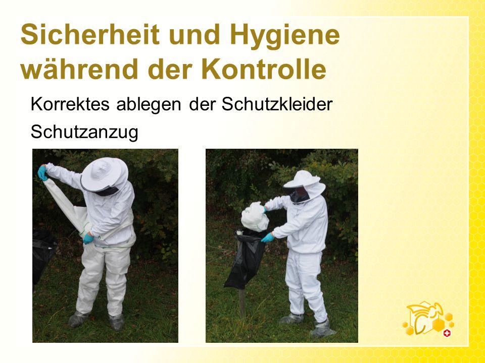 Sicherheit und Hygiene während der Kontrolle Korrektes ablegen der Schutzkleider Schutzanzug