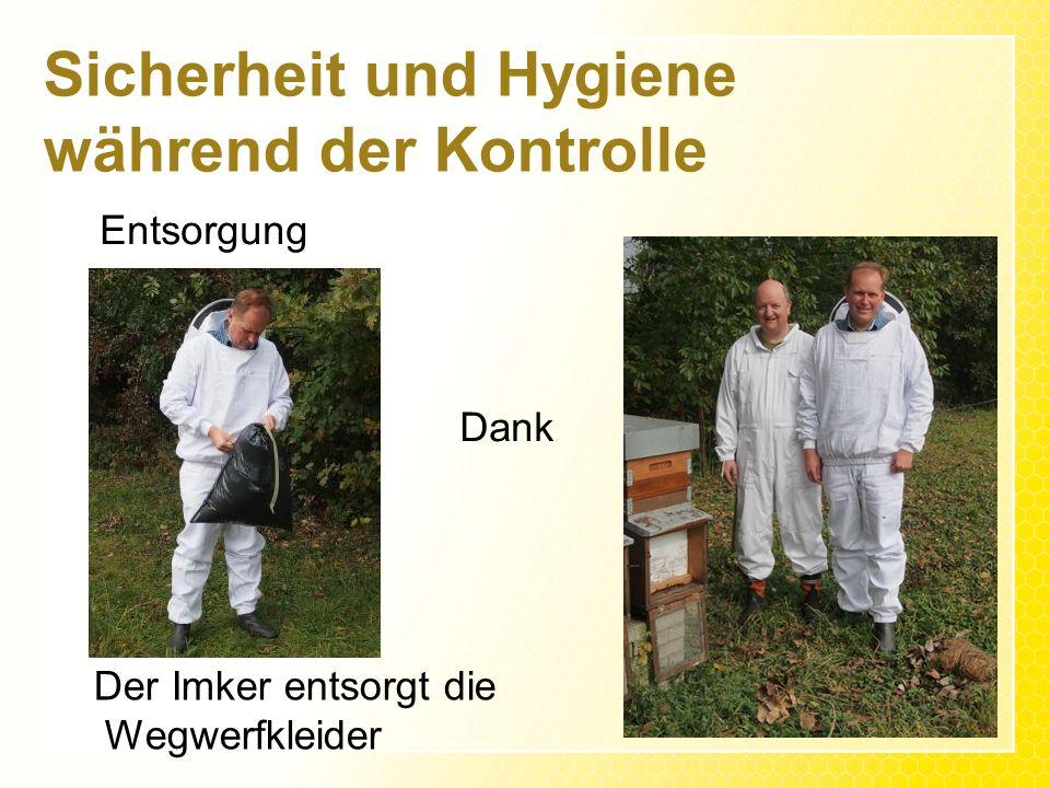 Sicherheit und Hygiene während der Kontrolle Entsorgung Dank Der Imker entsorgt die Wegwerfkleider
