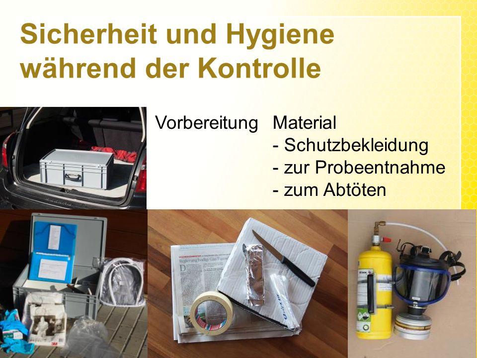 Sicherheit und Hygiene während der Kontrolle VorbereitungMaterial - Schutzbekleidung - zur Probeentnahme - zum Abtöten