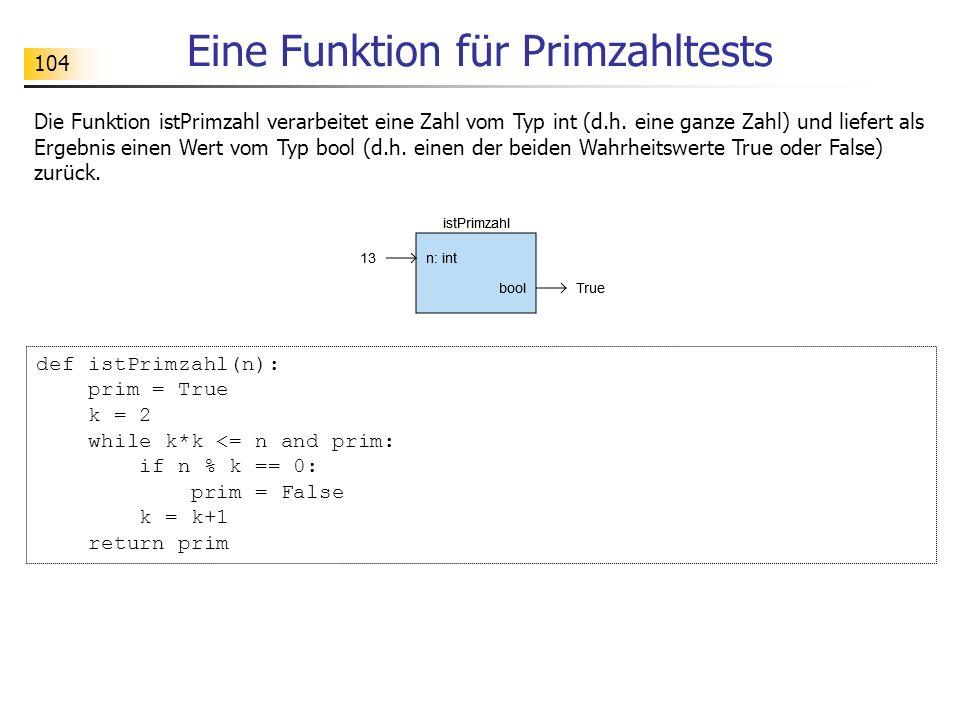104 Eine Funktion für Primzahltests Die Funktion istPrimzahl verarbeitet eine Zahl vom Typ int (d.h. eine ganze Zahl) und liefert als Ergebnis einen W