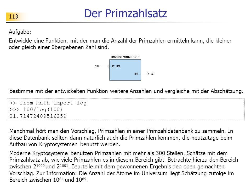 113 Der Primzahlsatz Aufgabe: Entwickle eine Funktion, mit der man die Anzahl der Primzahlen ermitteln kann, die kleiner oder gleich einer übergebenen