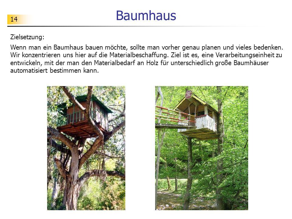 14 Baumhaus Zielsetzung: Wenn man ein Baumhaus bauen möchte, sollte man vorher genau planen und vieles bedenken. Wir konzentrieren uns hier auf die Ma