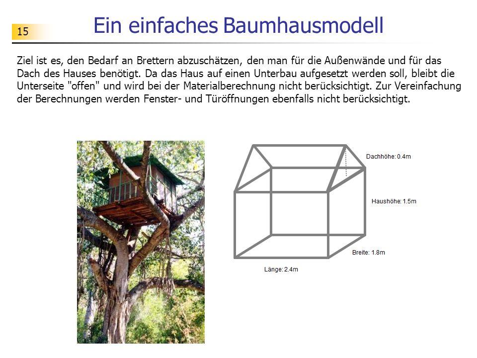 15 Ein einfaches Baumhausmodell Ziel ist es, den Bedarf an Brettern abzuschätzen, den man für die Außenwände und für das Dach des Hauses benötigt. Da