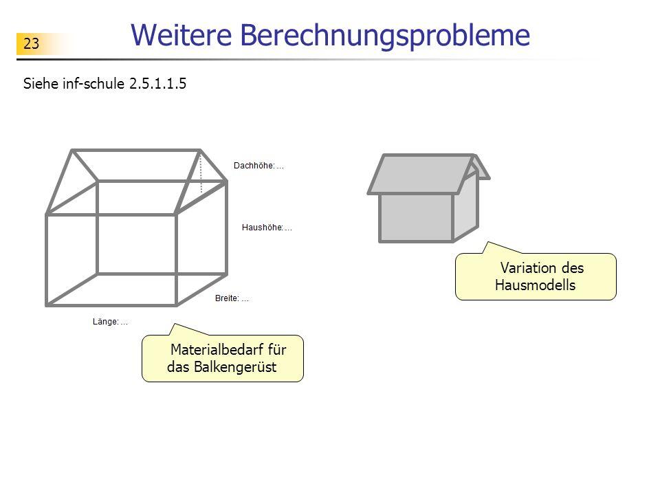 23 Weitere Berechnungsprobleme Siehe inf-schule 2.5.1.1.5 Materialbedarf für das Balkengerüst Variation des Hausmodells