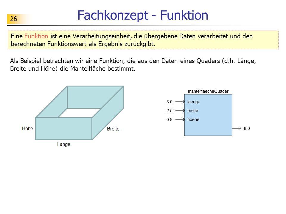 26 Fachkonzept - Funktion Als Beispiel betrachten wir eine Funktion, die aus den Daten eines Quaders (d.h. Länge, Breite und Höhe) die Mantelfläche be
