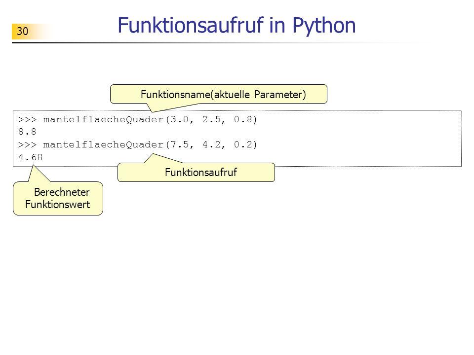 30 Funktionsaufruf in Python >>> mantelflaecheQuader(3.0, 2.5, 0.8) 8.8 >>> mantelflaecheQuader(7.5, 4.2, 0.2) 4.68 Berechneter Funktionswert Funktion