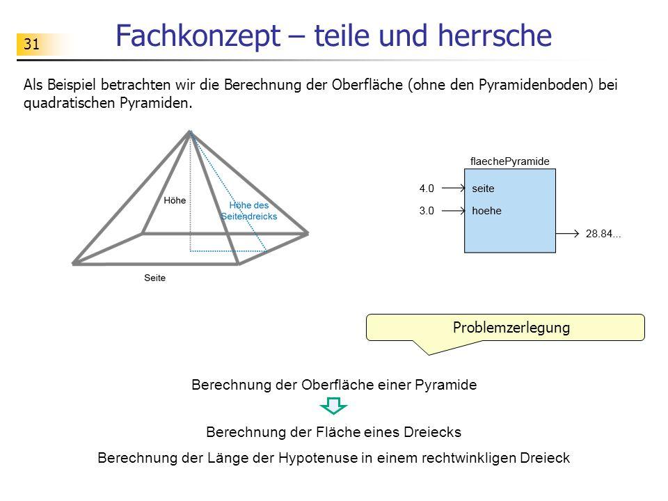 31 Fachkonzept – teile und herrsche Als Beispiel betrachten wir die Berechnung der Oberfläche (ohne den Pyramidenboden) bei quadratischen Pyramiden. P