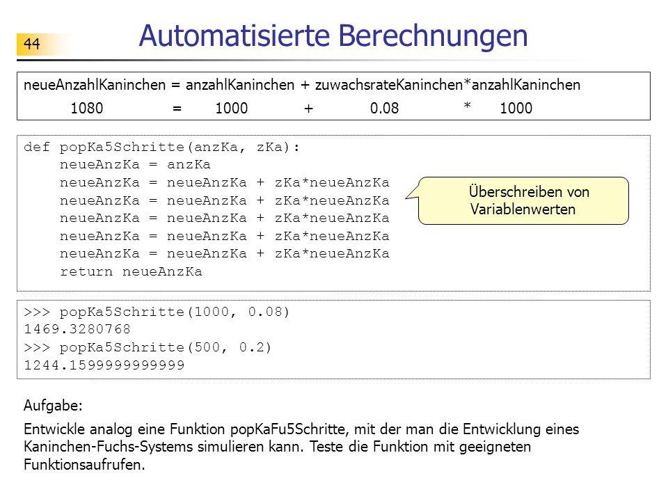 44 Automatisierte Berechnungen Aufgabe: Entwickle analog eine Funktion popKaFu5Schritte, mit der man die Entwicklung eines Kaninchen-Fuchs-Systems sim