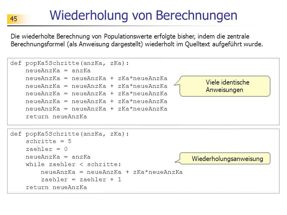 45 Wiederholung von Berechnungen def popKa5Schritte(anzKa, zKa): neueAnzKa = anzKa neueAnzKa = neueAnzKa + zKa*neueAnzKa return neueAnzKa def popKa5Sc
